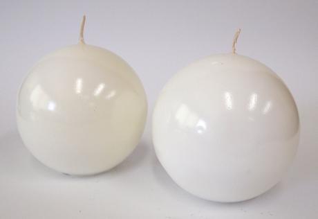 Sviečka guľa biela 8cm,