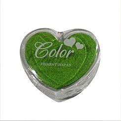 Razítkovací polštářek srdíčko zelená,