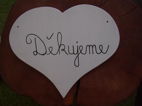 Cedule srdce - boudoir nevěsty - děkujeme,