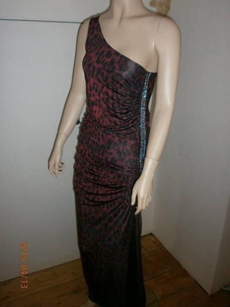 Společenské šaty tygrované s kamínky, 36