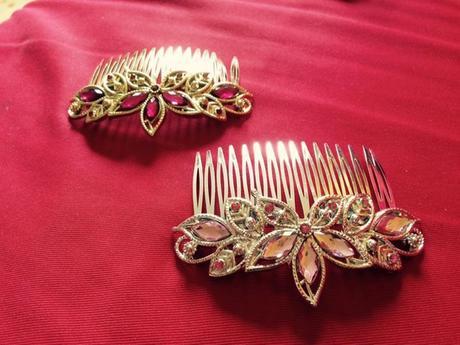 svatební hřebínky zlatý a stříbrný,
