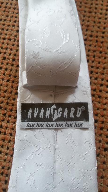 Společenská kravata Avantgard Lux - bílo-stříbrná,