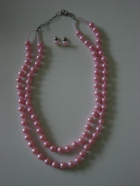 2 radový náhrdelník z ružových perličiek,