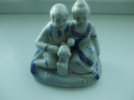 Modro-biela keramika-dekorácia,