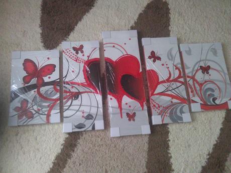 5 dielny 3D romanticky obraz - malba na platne,