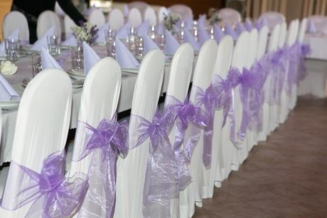 Mašle na židle, organza, satén, krajka-lila/šampaň,