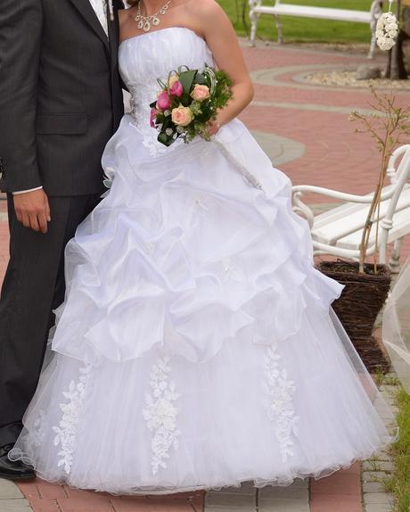 Svadobné šaty+vestička s kravatou, 38