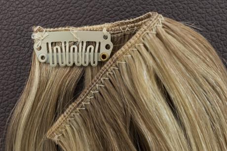 Ľudské Clip in vlasy Svetlý melír 50cm,