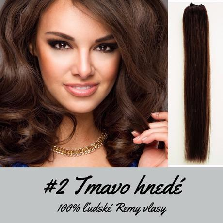 Ľudské Clip in vlasy Tmavo hnedá 50cm,
