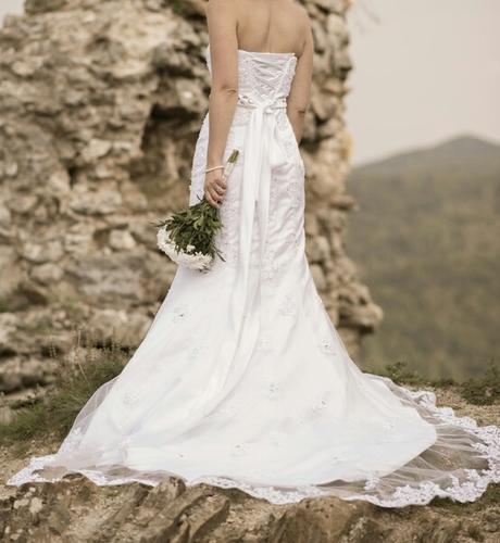 Cipkovane svadobne saty 34/36, 34