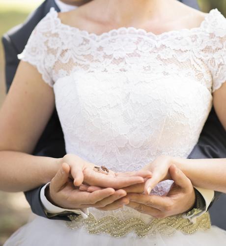 Biele svadobne saty s cipkou - 38 - 40, 38
