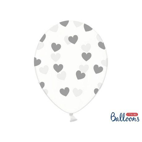 Balón Crystal Clear - strieborné srdiečka,