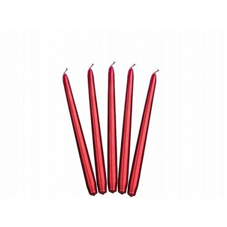 Sviečka kónická červená metalická - 24cm,