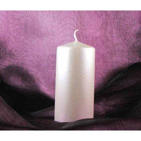Sviečka valec 50/100 biela perleťová,