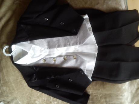 Komplet frak,vesta,kalhoty,košile-lila svatba , 80
