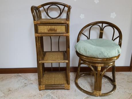 Ratanove kreslo +stolík ,