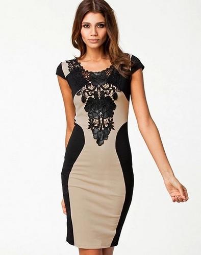 Černobéžové šaty s krajkou velikost M/L, 38