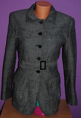 Černobílé sáčko/kabátek Fishbone M, 40