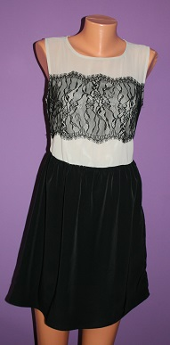 Černobílé šaty s krajkou Asos vel.40, 40