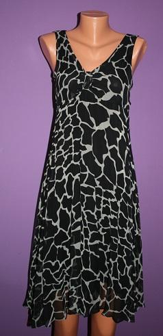 Černobílé vzorované šaty 44/46, 44