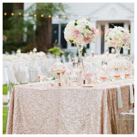 Glitterové obrusy v odtieni Champagne a Blush pink,