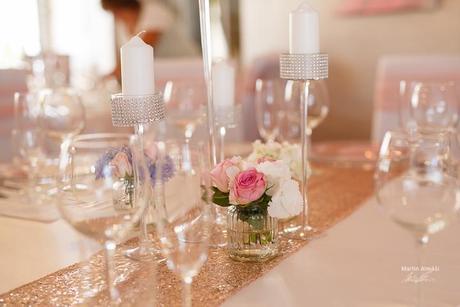 Glitterové štóly v odtieni champagne,