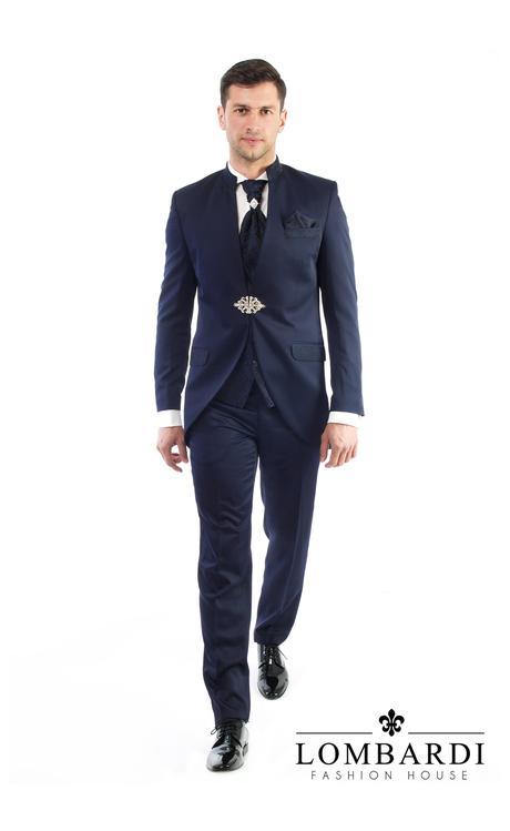 Svadobný oblek s vestou a kravatou, 50