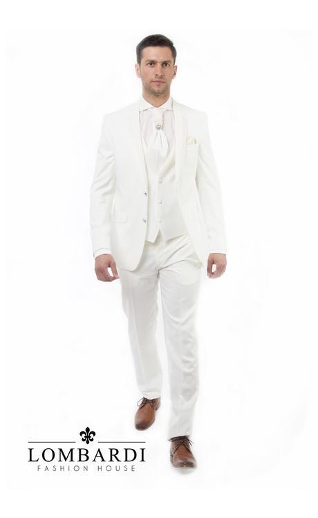 Svadobný oblek s vestou a kravatou, 52