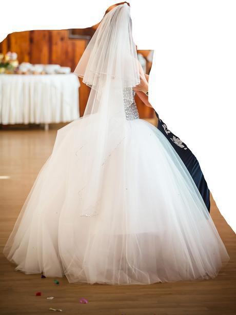 Svadobné tylové šaty so swarovski  36,38,40 - korz, 38