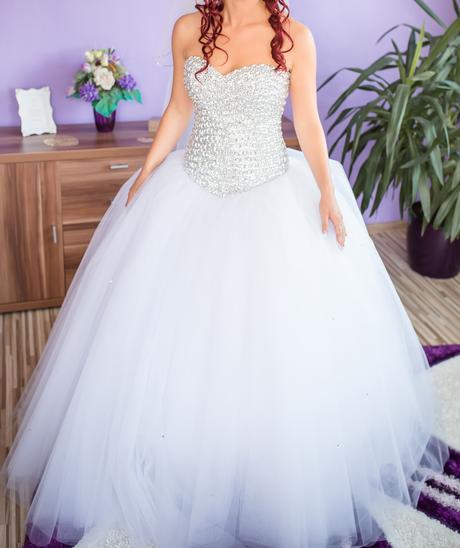 Svadobné tylové šaty so swarovski  36,38 - korz, 38
