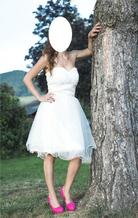 Krátké šaty smetanové - popůlnoční, 34