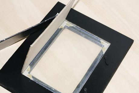 Čierno-šedý rámik vintage  25cm x 20cm - mám 1ks,