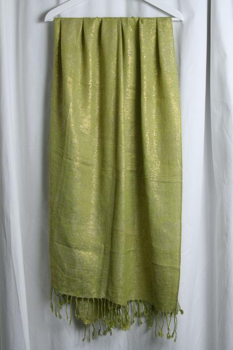 Elegantná zelenozlatá šatka, pašmína , XL