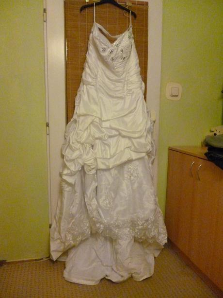 Originální svatební šaty pro boubelku 50-56, 52
