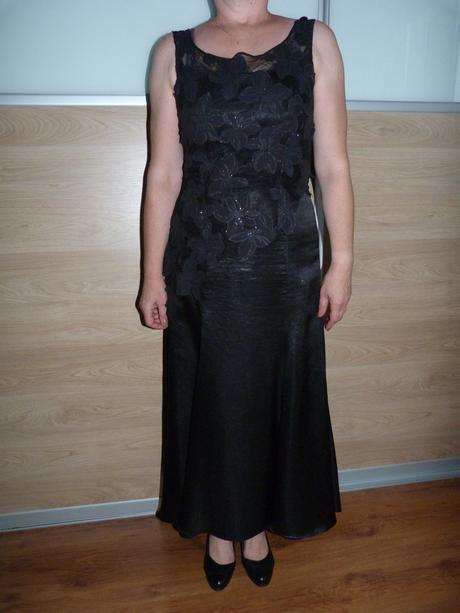 Dvojdielne dlhé čierne šaty, 40