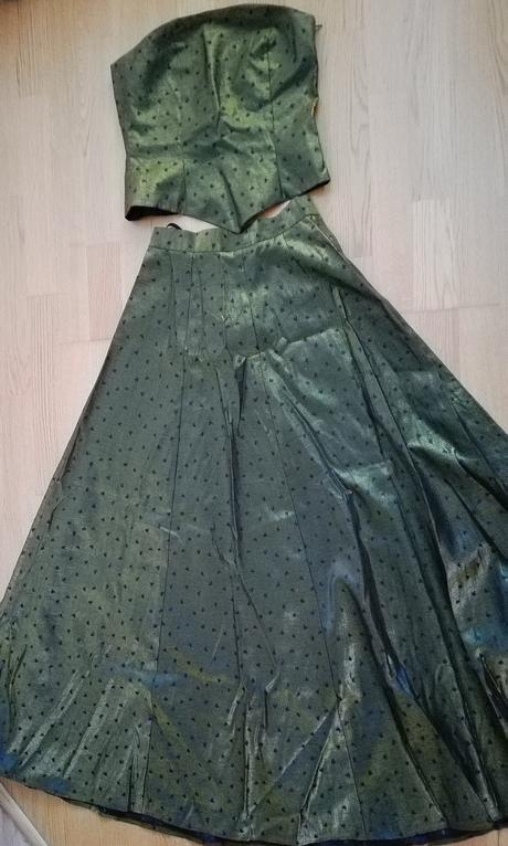 zlato zelený komplet - dlhá sukňa a korzet, 36