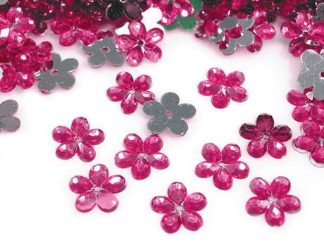 Plastové květiny fuchsiové (100ks),