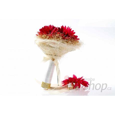 Svatební kytice Gerbera červená vč. korsáže,