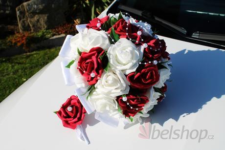 Svatební kytice vč. korsáže bordó,