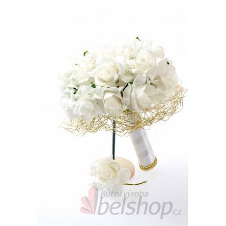 Svatební kytice z pěnových růží vč. korsáže,