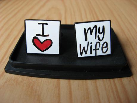 """Manžetové gombíky """"I love my wife"""","""