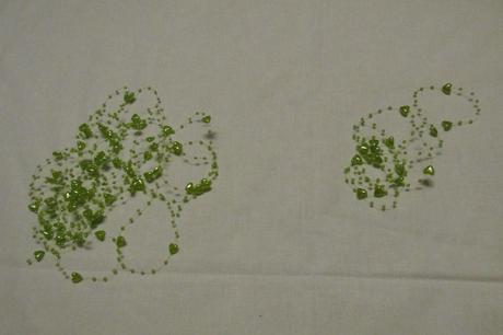 Perličky a srdíčka na silonu - zelené,