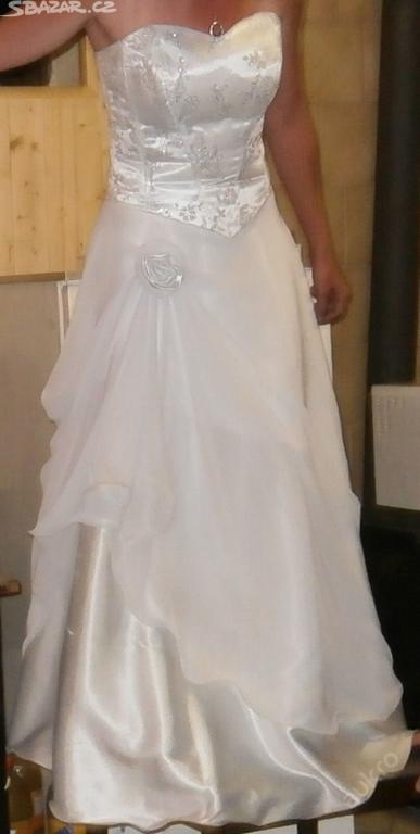 Bílé svatební šaty + kravata,kapesníče,knoflíky, 38