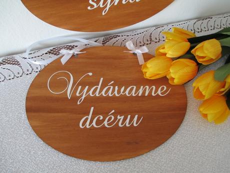 Svadobná tabuľka Vydávame dcéru ženíme syna 2,