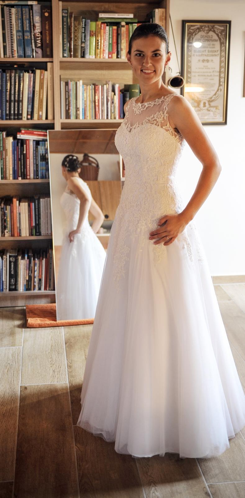 0082fca73075 Svatební šaty krajka + tyl
