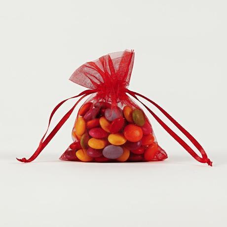Darčekové vrecúška z organzy červené 7,5 x 10 cm,