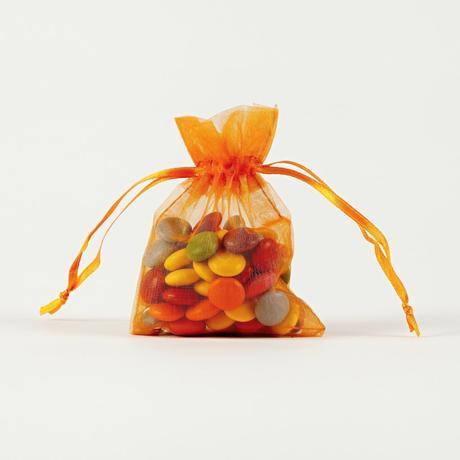 Darčekové vrecúška z organzy oranžové 7,5 x 10 cm,