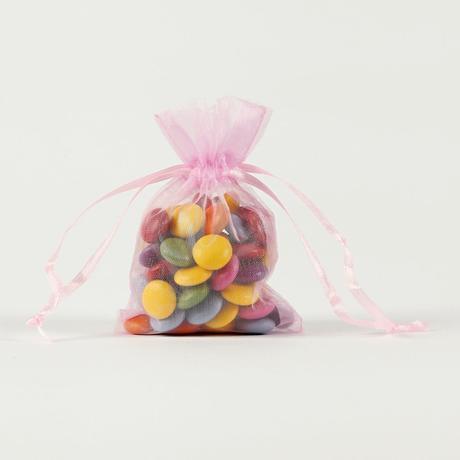 Darčekové vrecúška z organzy ružové 7,5 x 10 cm,