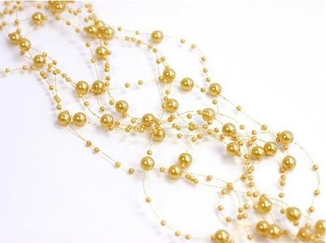 Perličková girlanda 1,3 m zlatá,