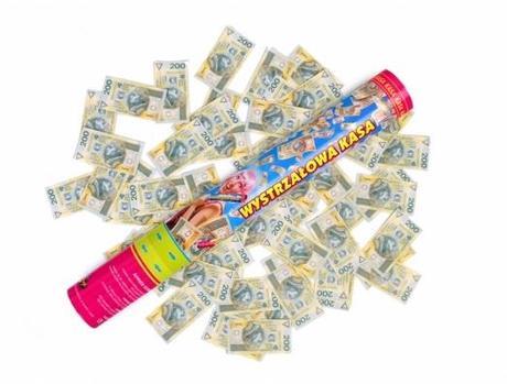 Vystreľovacie konfety 40cm bankovky,